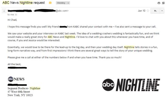 Riddersen Wedding - ABC Nightline Request
