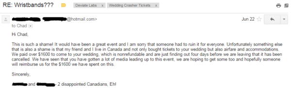 Riddersen Wedding - Two Disappointed Canadians Email